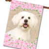 "Spring Flowers Bichon Frise - House Flag - 28"" x 40"""