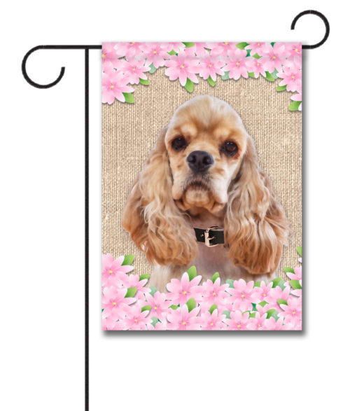Spring Flowers Cocker Spaniel - Garden Flag - 12.5'' x 18''