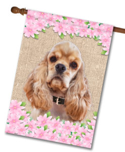 "Spring Flowers Cocker Spaniel - House Flag - 28"" x 40"""