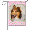Spring Flowers Collie - Garden Flag - 12.5'' x 18''
