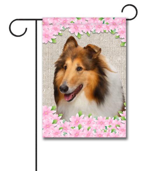Spring Flowers Collie - Garden Flag - 12.5'' x 18''