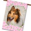 "Spring Flowers Collie - House Flag - 28"" x 40"""