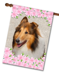 "Spring Flowers Collie - House Flag - 28"" x 40"""