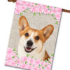 "Spring Flowers Corgi - House Flag - 28"" x 40"""