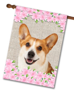 "Spring Flowers Corgi - House Flag - 28"" x 40"""