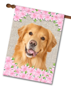"Spring Flowers Golden Retriever - House Flag - 28"" x 40"""