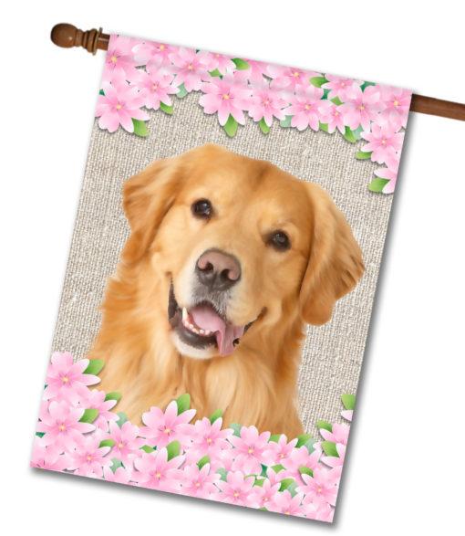 "Spring Flowers Golden Retriever - House Flag - 28"" x 40"""