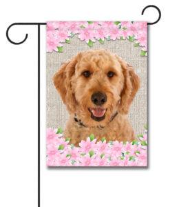 Spring Flowers Goldendoodle - Garden Flag - 12.5'' x 18''