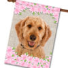 "Spring Flowers Goldendoodle - House Flag - 28"" x 40"""