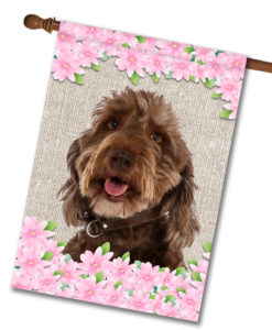 "Spring Flowers Labradoodle - House Flag - 28"" x 40"""