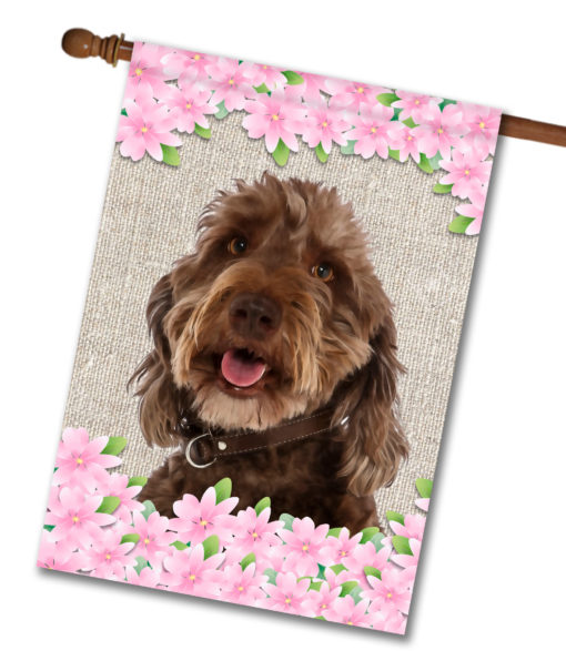 """Spring Flowers Labradoodle - House Flag - 28"""" x 40"""""""