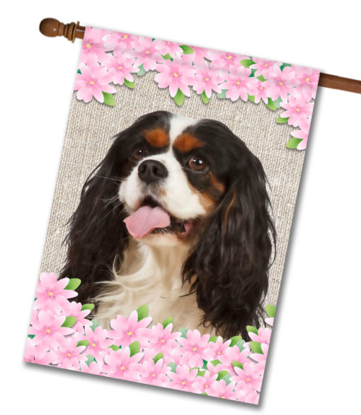 "Spring Flowers Tri-Color Cavalier King Charles Spaniel - House Flag - 28"" x 40"""