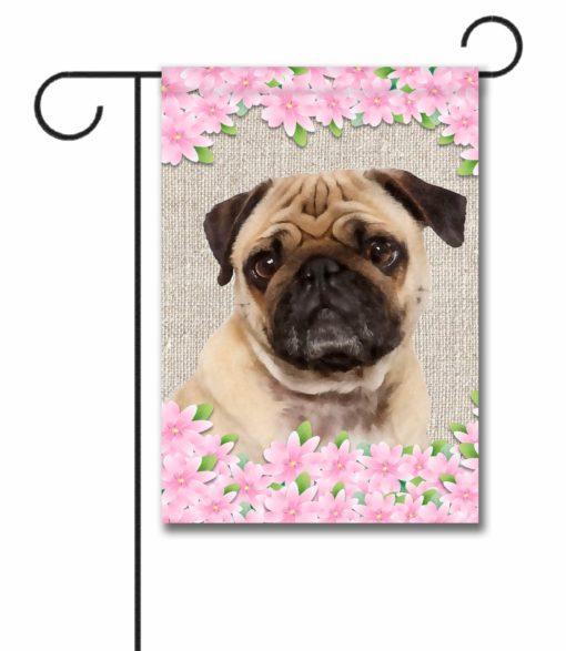 Spring Flowers Pug - Garden Flag - 12.5'' x 18''