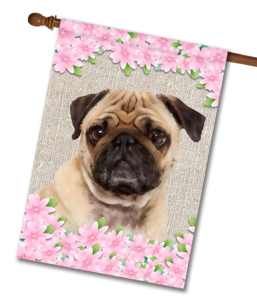 "Spring Flowers Pug - House Flag - 28"" x 40"""