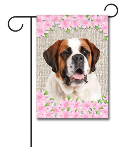 Spring Flowers Saint Bernard - Garden Flag - 12.5'' x 18''