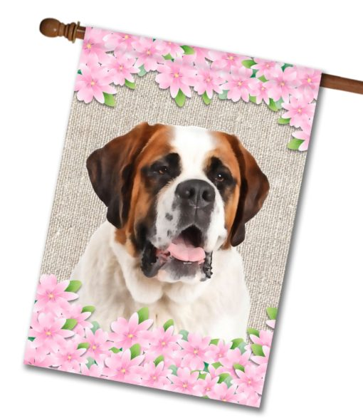 "Spring Flowers Saint Bernard - House Flag - 28"" x 40"""