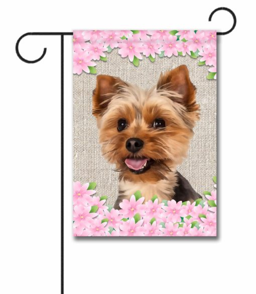 Spring Flowers Yorkshire Terrier - Garden Flag - 12.5'' x 18''