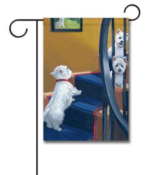 West Highland Terrier Going Up - Garden Flag - 12.5'' x 18''