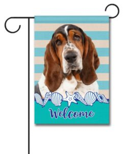 Stripes & Seashells Basset Hound - Garden Flag - 12.5'' x 18''