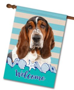 Stripes & Seashells Basset Hound - House Flag - 28'' x 40''
