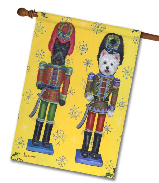 Scottie & Westie Nutcrackers - Blue House Flag- 28'' x 40''