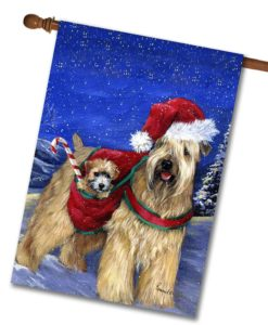 Soft Coated Wheaten Holiday - House Flag - 28'' x 40''