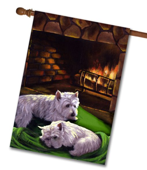 West Highland Terrier A Winter's Night - House Flag - 28'' x 40''