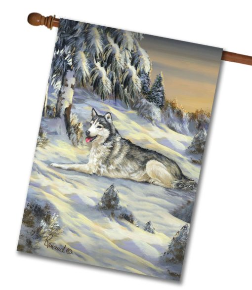 Siberian Husky Winterscape - House Flag - 28'' x 40''