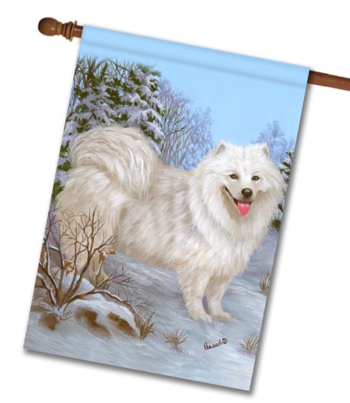 Samoyed Happiness Is - House Flag - 28'' x 40''