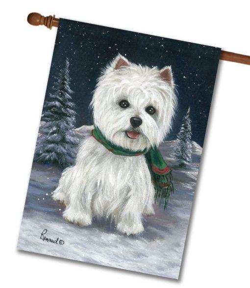 West Highland Terrier Snow Bunny - House Flag - 28'' x 40''