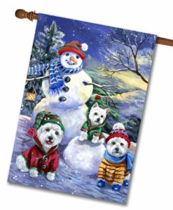 West Highland Terrier Snowman - House Flag - 28'' x 40''