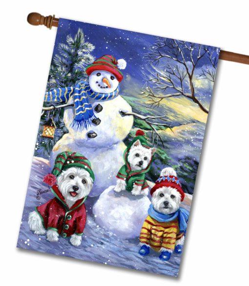 West Highland Terrier Snowman - House Flag - 28'' x 40''